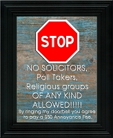 Lawn Sign - Stop No Soliciting (Blue Wood Background Image)