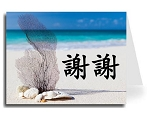 Traditional Chinese Calligraphy w/Beach Thank You Card Set - Xie Xie (Black)