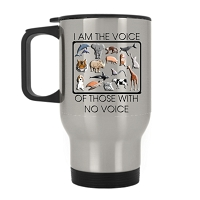 14 oz. Silver Stainless Travel Mug - I am the voice of those with no voice