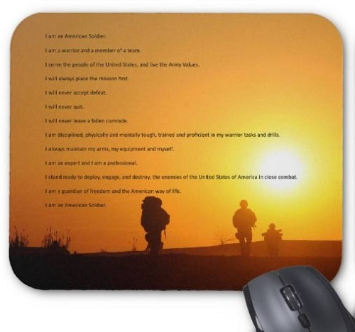 Army Soldiers Creed Mouse Pad