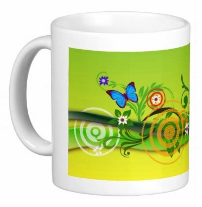 Mug - Butterfly and Flowers on Way to Spring