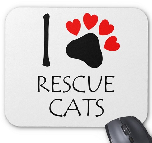 I Love Rescue Cats Mouse Pad