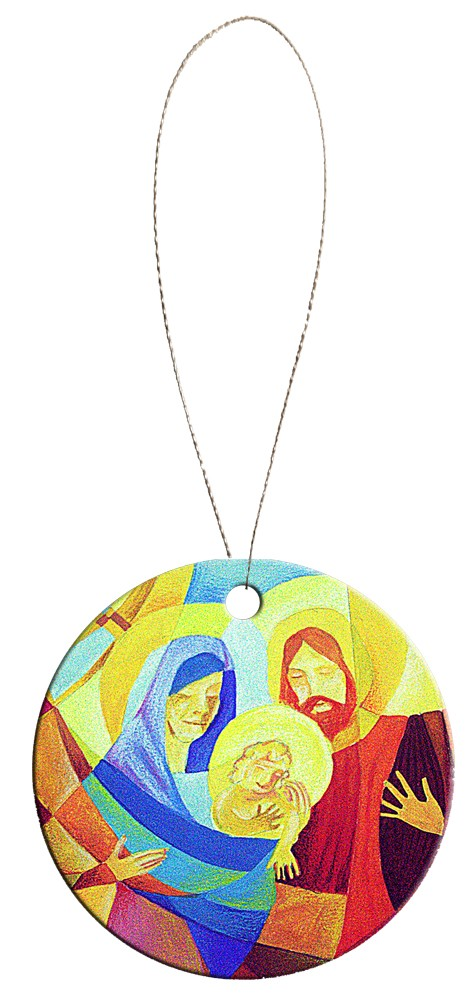 Round Holiday Ceramic Ornament - Nativity 4