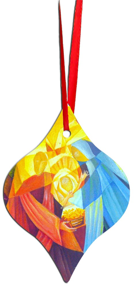 Metal Tapered Holiday Ornament - Nativity 2