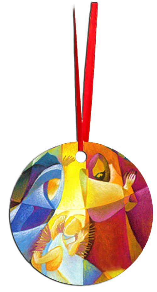 Round Holiday Metal Ornament - Nativity 1