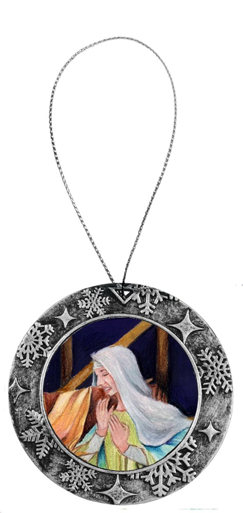 Antique Holiday Round Ornament - Virgin Mary 6