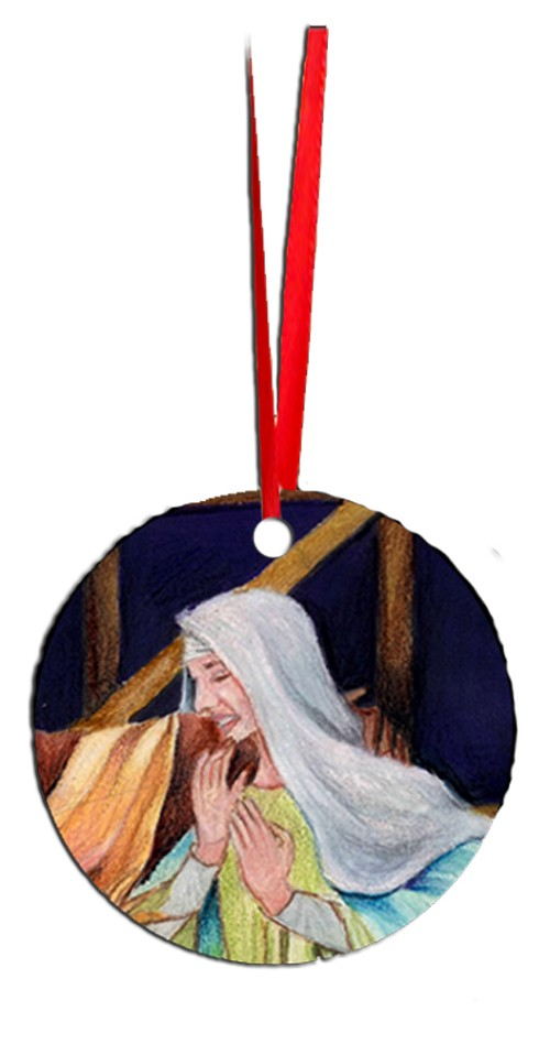 Round Holiday Metal Ornament - Virgin Mary 6
