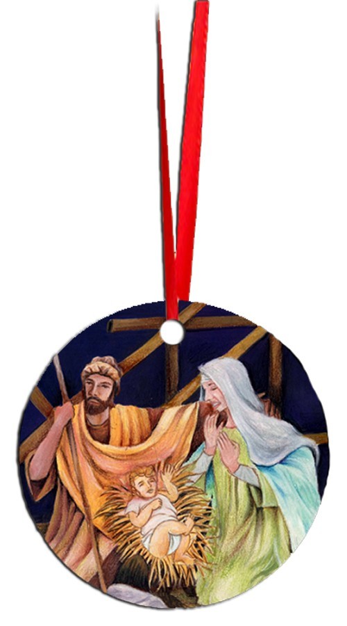 Round Holiday Metal Ornament - Nativity 6