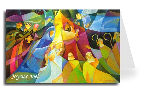 Merry Christmas Greeting Card - Nativity 3 French