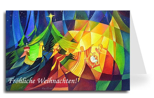 Merry Christmas Greeting Card - Nativity 1 German