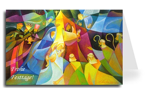 Happy Holidays Greeting Card - Nativity 3 German