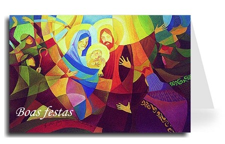 Happy Holidays Greeting Card - Nativity 4 Portuguese