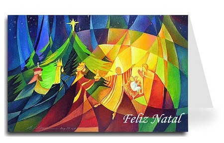 Merry Christmas Greeting Card - Nativity 1 Portuguese