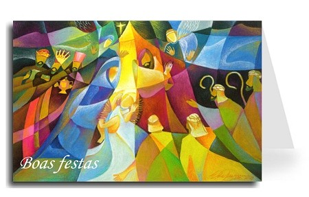 Happy Holidays Greeting Card - Nativity 3 Portuguese