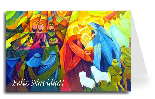 Merry Christmas Greeting Card - Nativity 2 Spanish