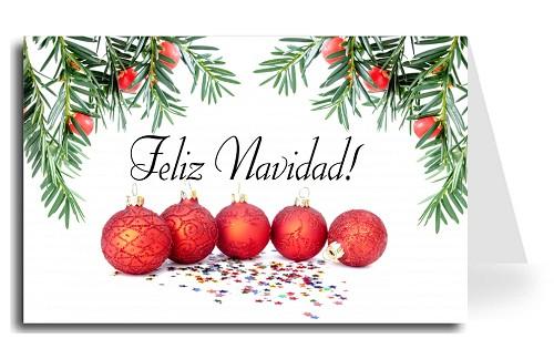 spanish greeting card christmas balls under tree merry christmas florentine cursive font