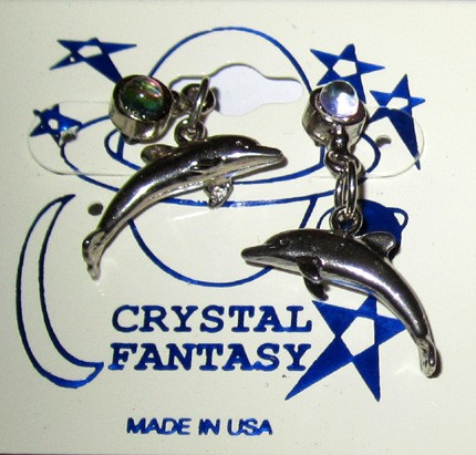 Pewter Earrings - Dolphin w/Crystal