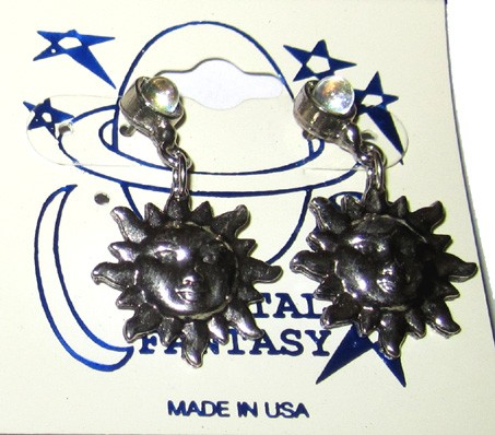 Pewter Earrings - Sun w/Crystal