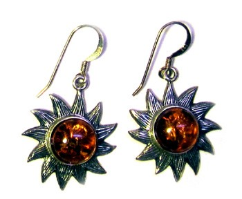 "Amber Sun Earrings Sterling Silver 7/8"" diameter"