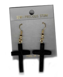 Hematite Cross Earrings Hypo Allergenic Wire