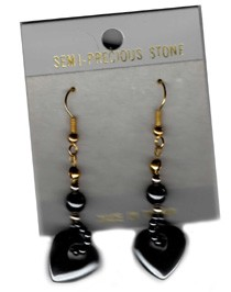 Hematite Heart Earrings Hypo Allergenic Wire