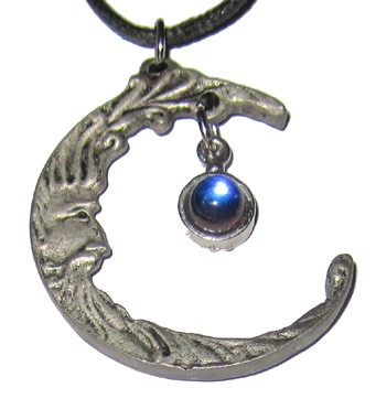 Pewter Pendant - Crescent Moon w/Crystal
