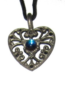 Pewter Pendant - Medium Heart w/Crystal