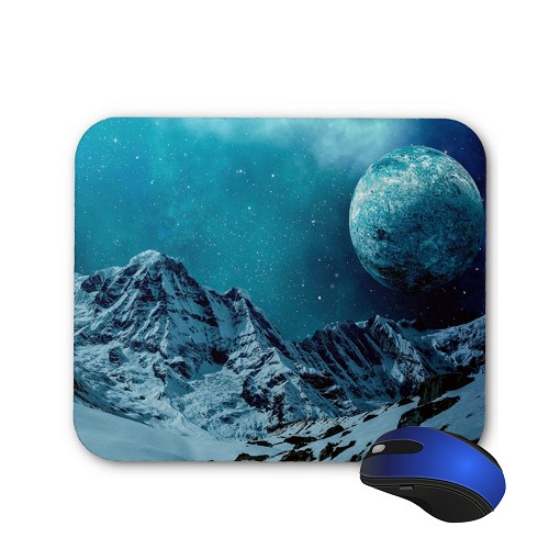 Fantasy Mouse Pad - Snowy Mountains and a Moon