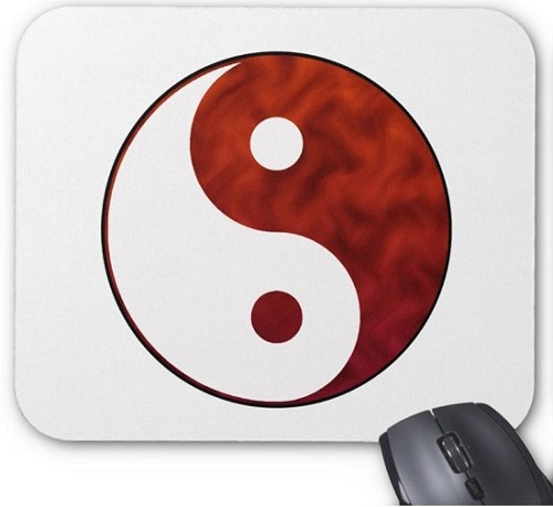 Mouse Pad - Yin Yang White & Red
