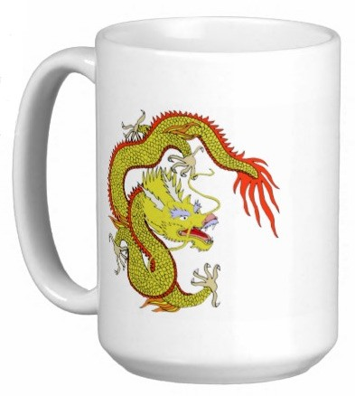 Chinese Dragon 15 oz Coffee/Tea Mug - Yellow