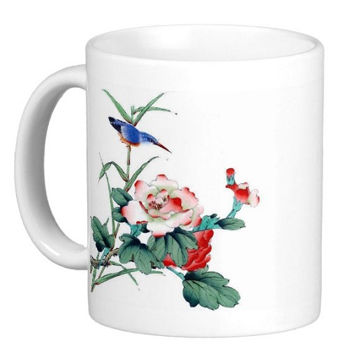 Chinese Watercolor Art 11 oz Coffee/Tea Mug - Blue Bird