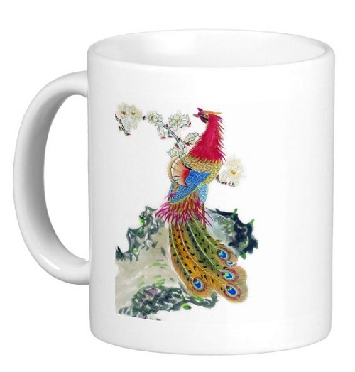 Chinese Watercolor Art 11 oz Coffee/Tea Mug - Peacock