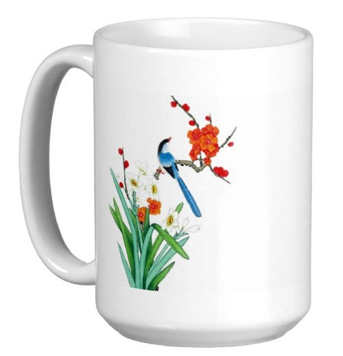 Chinese Watercolor Art 15 oz Coffee/Tea Mug - Blue Bird w/Orange Flowers