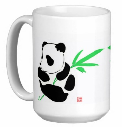 Chinese Watercolor Art 15 oz Coffee/Tea Mug - Panda