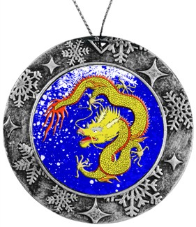 Antique Holiday Round Ornament - Yellow Chinese Dragon