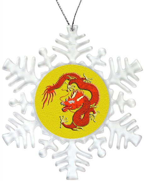Holiday Snowflake Ornament - Red Chinese Dragon