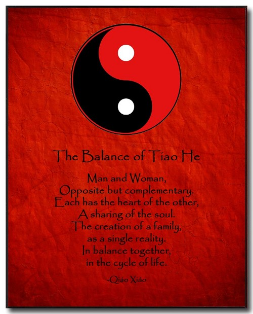 Love Poem Plaque - Yin Yang (R/B) by Qiao Xiao Red Background