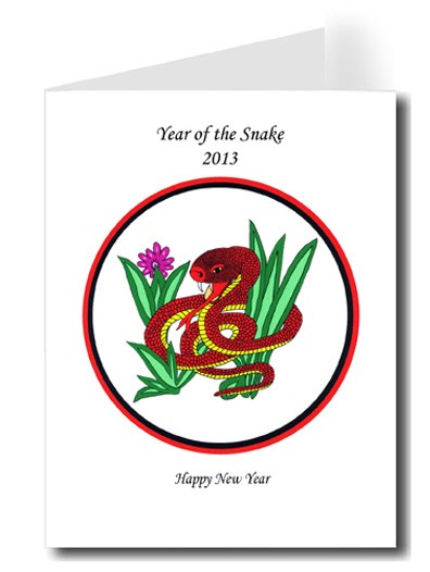 chinese snake happy new year card set 24 year of the snake