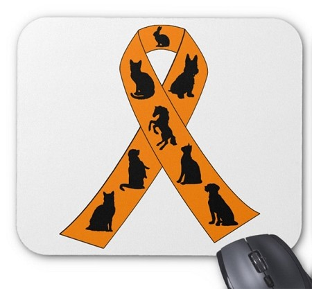 Stop Animal Abuse Ribbon Mouse Pad