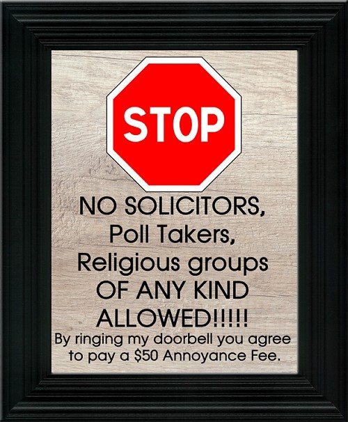 Lawn Sign - Stop No Soliciting