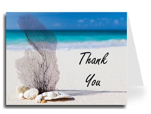 Beach Thank You Card Set - Freestyle Script Font