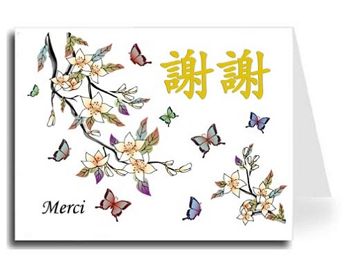 Traditional Chinese Calligraphy w/Elegant Butterflies Thank You Card Set - Xie Xie & Merci (Gold)