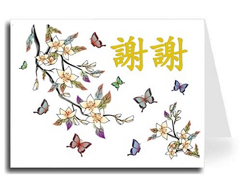 Traditional Chinese Calligraphy w/Elegant Butterflies Thank You Card Set - Xie Xie (Gold)