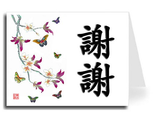 Traditional Chinese Calligraphy w/Butterflies Thank You Card Set - Xie Xie (Black Shadow)