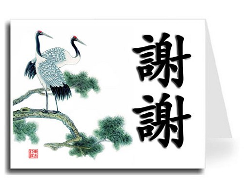Traditional Chinese Calligraphy w/Cranes Thank You Card Set - Xie Xie (Black Shadow)