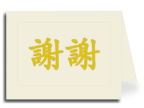 Traditional Chinese Calligraphy Thank You Card Set - Xie Xie (Gold Pillow Embossed Style)