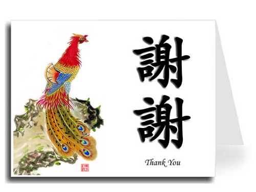 Traditional Chinese Calligraphy w/Peacock Thank You Card Set - Xie Xie & Thank You (Black Shadow)