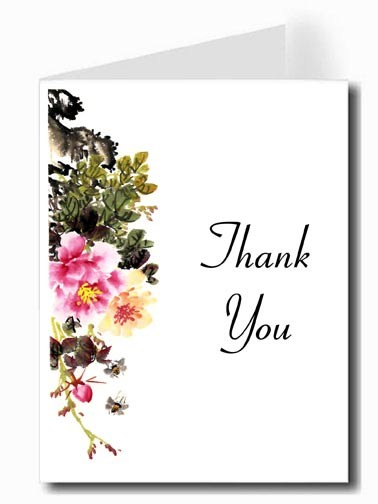 Pink & Yellow Flower Watercolor Thank You Card Set - Connecticut Font