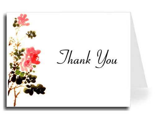 Flower Watercolor Thank You Card Set - Connecticut Font