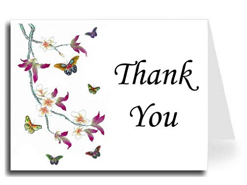 Butterflies Watercolor Thank You Card Set - Monotype Corsiva Font